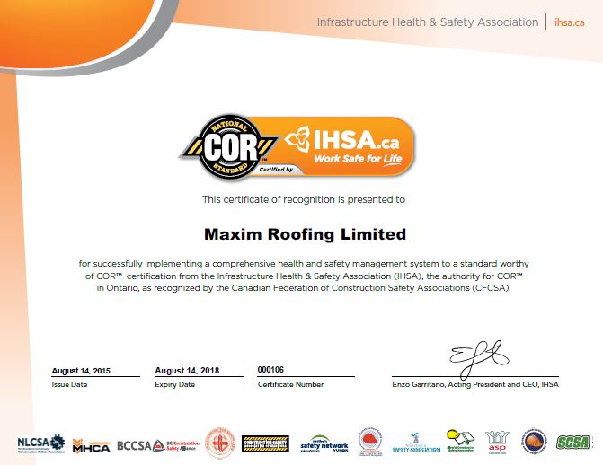 COR ROOFING CERTIFICATE